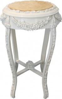 """Casa Padrino Barock Beistelltisch Rund """" Flowers Mod2"""" Weiß/Creme Antik Look - 71 x 42 cm"""