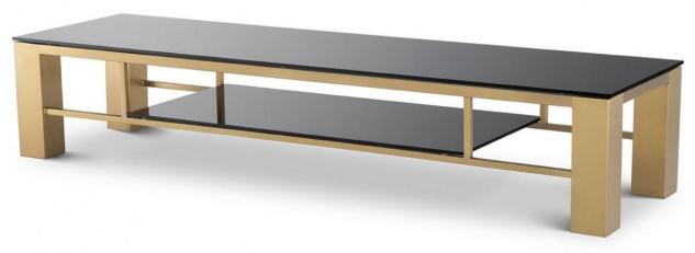 Casa Padrino Luxus TV Schrank Messingfarben / Schwarz 195 x 55 x H. 38 cm - Edelstahl Sideboard mit Glasplatten - Luxus Wohnzimmer Möbel