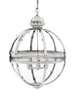 Casa Padrino Barock Hängeleuchte vernickelt Kugel Silber Durchmesser 60 cm, Höhe 88 cm - Barock Schloss Lampe Leuchte Laterne