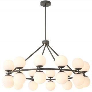 Casa Padrino Luxus Kronleuchter Bronzefarben / Weiß Ø 115 x H. 65 cm - Moderner Metall Kronleuchter mit runden Glas Lampenschirmen - Luxus Kollektion