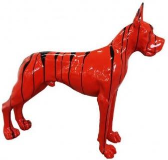 Casa Padrino Designer Dekofigur Hund Deutsche Dogge Rot / Schwarz 125 x H. 110 cm - Lebensgroße Deko Skulptur - Wetterbeständige Tierfigur