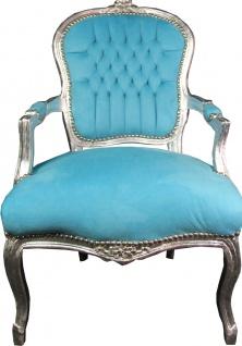 Casa Padrino Barock Salon Stuhl Hell Blau / Silber Mod1