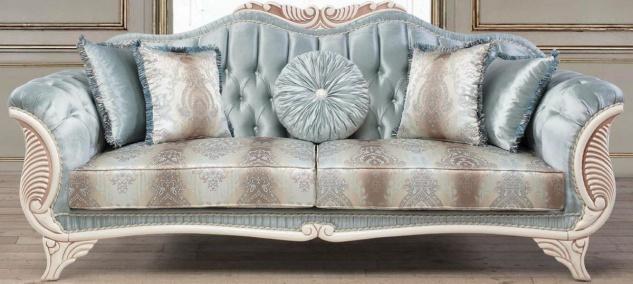 Casa Padrino Luxus Barock Wohnzimmer Sofa mit dekorativen Kissen Türkis / Creme / Bronze 232 x 87 x H. 96 cm - Wohnzimmermöbel im Barockstil