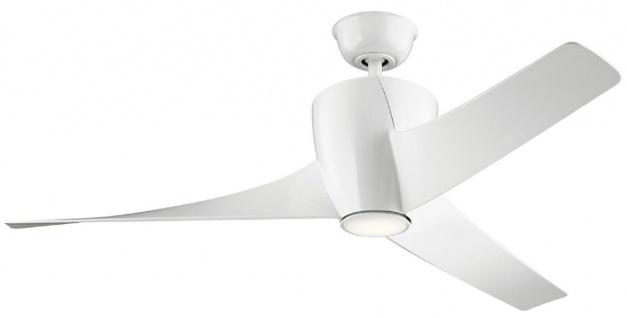 Casa Padrino Luxus Deckenventilator Weiß 142 x H. 41 cm - Moderner dimmbarer Ventilator mit LED Beleuchtung und Fernbedienung - Luxus Accessoires
