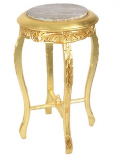 Casa Padrino Barock Beistelltisch mit cremefarbener Marmorplatte Rund Gold 50 x 35 cm Antik Stil - Telefon Blumen Tisch - Vorschau 2