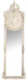 Casa Padrino Luxus Barock Wandspiegel Antik Grau-Creme 175 x 55 cm - Massiv und Schwer - Spiegel