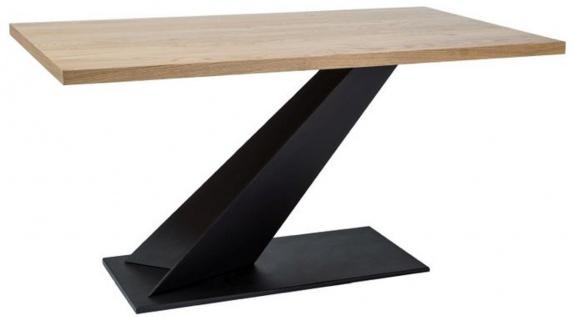 Casa Padrino Designer Massivholz Esstisch Naturfarben / Schwarz 150 x 90 x H. 78 cm - Küchentisch mit massiver Eichenholz Tischplatte - Esszimmermöbel