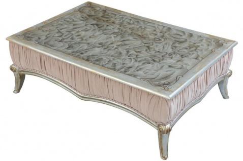 Casa Padrino Luxus Barock Couchtisch Rosa / Silber / Schwarz / Gold 80 x 50 x H. 50 cm - Eleganter Wohnzimmertisch im Barockstil - Barock Möbel