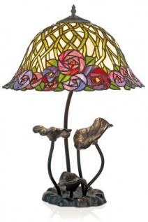 Casa Padrino Tiffany Tischleuchte Hockerleuchte Blumen - Leuchte Lampe