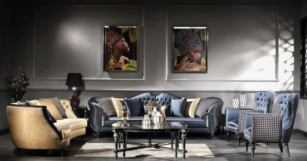 Casa Padrino Luxus Barock Wohnzimmer Set Blau / Gold / Schwarz - 2 Sofas & 2 Sessel & 1 Couchtisch & 2 Beistelltische - Barock Möbel - Edel & Prunkvoll