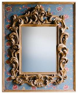 Casa Padrino Barock Spiegel mit Blumen Design Mehrfarbig / Gold 104, 5 x H. 128 cm - Prunkvoller handgefertigter Wandspiegel mit dekorativem Rahmen und wunderschönen Verzierungen