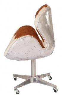 Casa Padrino Designer Bürostuhl Braun / Weiß / Silber 72 x 63 x H. 91 cm - Luxus Büromöbel - Vorschau 3
