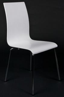 Designer Stuhl aus Holz und verchromtem Stahl Weiss, Esszimmerstuhl, moderner Wohnzimmerstuhl