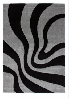 Casa Padrino Design Teppich Schwarz Silber - Designer Teppich
