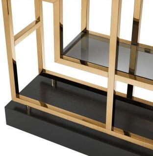 Casa Padrino Luxus Regalschrank Messing / Schwarz 108 x 29 x H. 240 cm - Edelstahl Wohnzimmerschrank mit 10 Glasregalen - Luxus Wohnzimmer Möbel - Vorschau 4