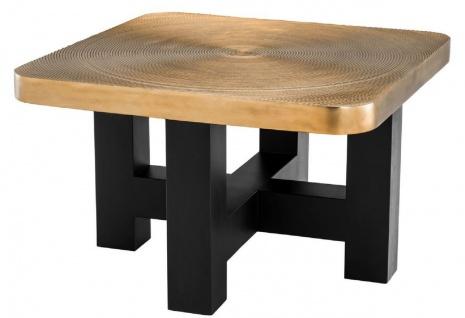 Casa Padrino Luxus Couchtisch Messingfarben / Schwarz 64 x 64 x H. 40 cm - Luxuriöser Wohnzimmertisch mit Tischplatte im Baumscheiben Design - Luxus Wohnzimmermöbel