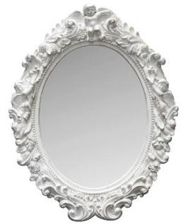 Casa Padrino Barock Wandspiegel Oval Weiss Höhe 53 cm, Breite 40 cm - Edel & Prunkvoll - Vintagelook - Handgefertigt
