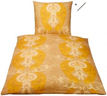 Harald Glööckler Designer Bettwäsche Engel Gold 155 x 220 cm + Casa Padrino Luxus Barock Bleistift mit Kronendesign