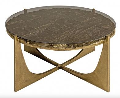 Casa Padrino Luxus Art Deco Couchtisch Bronze 74 x 38 cm - Gold mit Glasplatte - Art Design Tisch
