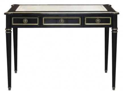 Casa Padrino Barock Schreibtisch mit 3 Schubladen Schwarz / Weiß / Gold 108 x 61 x H. 77 cm - Barock Büromöbel
