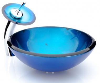 Casa Padrino Designer Waschtisch Set Blau Ø 43 x H. 30 cm - Einhebel Wasserhahn mit rundem Glas Waschbecken - Luxus Bad Zubehör