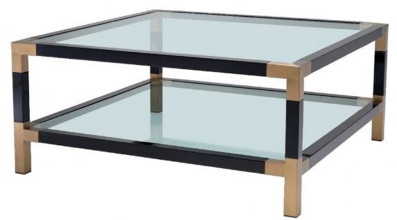 Casa Padrino Luxus Couchtisch Schwarz / Messing 100 x 100 x H. 45 cm - Wohnzimmertisch mit Glasplatten - Luxus Möbel