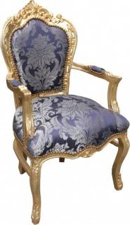Casa Padrino Barock Esszimmer Stuhl Blau Muster / Gold mit Armlehnen - Limited Edition - Vorschau 2