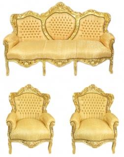 Casa Padrino Barock Wohnzimmer Set Gold Muster / Gold - 3er Sofa + 2 Sessel