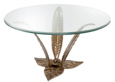 Casa Padrino Luxus Couchtisch Vintage Messingfarben Ø 85 x H. 45 cm - Designer Wohnzimmertisch mit Glasplatte