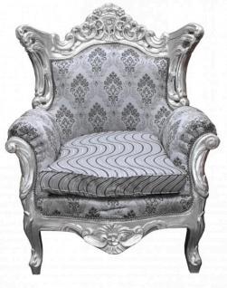 Casa Padrino Barock Sessel Al Capone Silber Muster / Silber Möbel Antik Stil