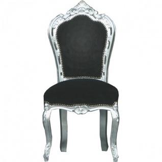 Casa Padrino Barock Esszimmer Stuhl Schwarz / Silber - Möbel