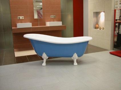 Freistehende Luxus Badewanne Jugendstil Roma Hellblau/Weiß/Weiß 1470mm - Barock Antik Stil Badezimmer - Vorschau 4