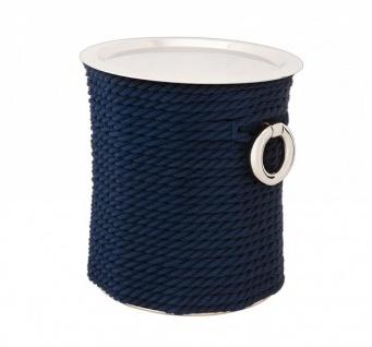 Casa Padrino Luxus Art Deco Designer Beistelltisch Nickel mit blauem Seil - Luxus Beistelltisch