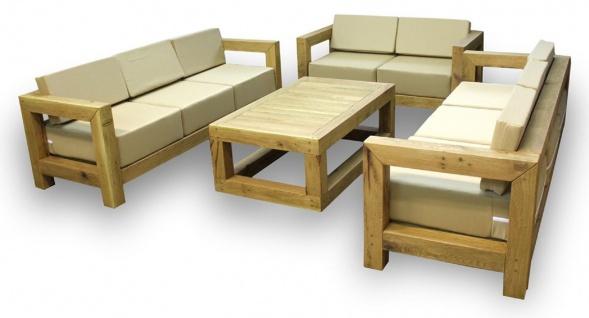 Casa Padrino Luxus Massivholz Gartenmöbel Set Beige / Naturfarben - 3 Sofas & 1 Couchtisch - Moderne Eichenholz Garten & Terrassen Möbel - Vorschau 3