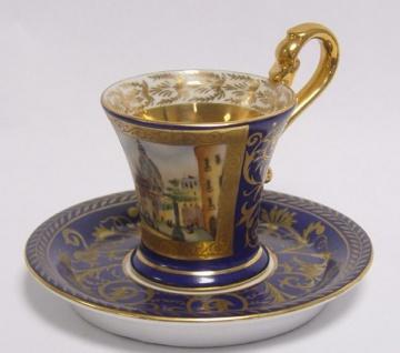 Casa Padrino Barock Tasse mit Untertasse Blau / Mehrfarbig Ø 14 x H. 10 cm - Edles Porzellan Geschirr