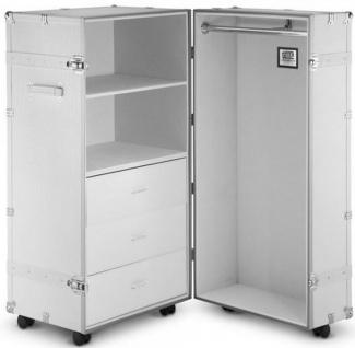 Casa Padrino Luxus Kunstleder Kofferschrank im Vintage Stil Weiß / Silber 60 x 69 x H. 120 cm - Schrankkoffer mit Rollen - Luxus Kollektion