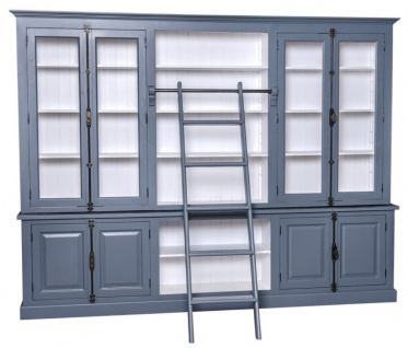 Casa Padrino Landhausstil Bücherschrank mit Leiter Blau / Weiß 300 x 50 x H. 230 cm - Landhausstil Möbel