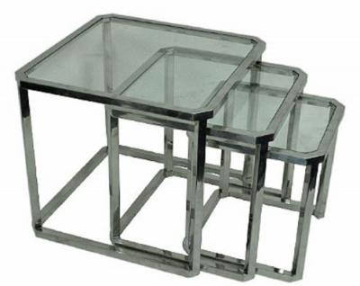 Casa Padrino Luxus Beistelltisch Set Silber 60 x 60 x H. 55 cm - Stahl Beistelltische mit Glasplatte