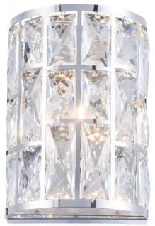 Casa Padrino Luxus Wandleuchte Silber 14, 7 x 10 x H. 21, 2 cm - Elegante Wandlampe mit Kristallglas - Vorschau 2