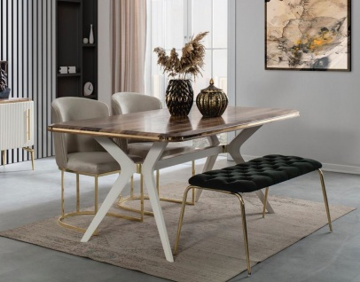 Casa Padrino Luxus Art Deco Esszimmer Set - 1 Esszimmertisch & 4 Esszimmerstühle & 1 Sitzbank - Art Deco Esszimmer Möbel