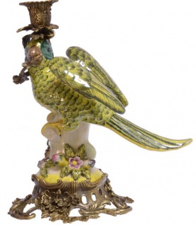 Casa Padrino Jugendstil Kerzenständer Mehrfarbig / Grün / Gold 17, 9 x 25, 8 x H. 28, 2 cm - Messing Kerzenhalter mit Porzellan Papagei