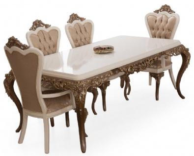Casa Padrino Luxus Barock Esszimmer Set Weiß / Braun / Gold - 1 Esszimmertisch & 6 Esszimmerstühle - Edle Barock Esszimmer Möbel - Edel & Prunkvoll