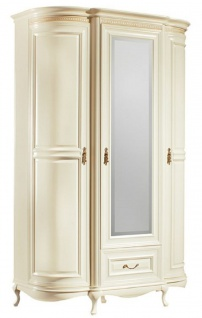 Casa Padrino Luxus Barock Schlafzimmerschrank Creme / Gold 130 x 62, 6 x H. 206, 6 cm - Prunkvoller Kleiderschrank mit 3 Türen und Schublade - Schlafzimmermöbel