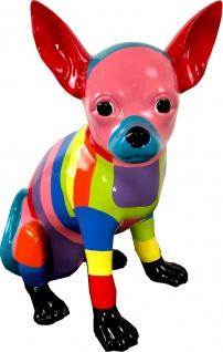 Casa Padrino Designer Dekofigur Chihuahua Hund Bunt H. 30 cm - Wetterbeständige Deko Skulptur - Wohnzimmer Deko - Garten Deko - Designer Deko Tierfigur