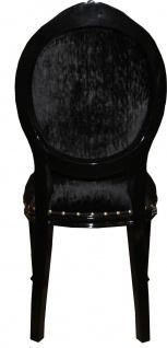 Casa Padrino Barock Medaillon Luxus Esszimmer Stuhl ohne Armlehnen in Schwarz / Schwarz - Limited Edition - Vorschau 3