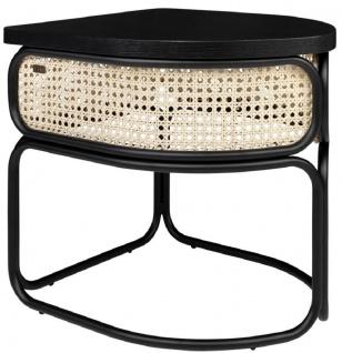 Casa Padrino Designer Couchtisch Schwarz / Naturfarben 50 x 40 x H. 45, 5 cm - Wohnzimmertisch mit Eichenfurnier Tischplatte edlem Rattangeflecht und pulverbeschichtetem Stahlrahmen