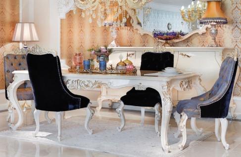 Casa Padrino Luxus Barock Esstisch Weiß / Gold - Handgefertigter Massivholz Esszimmertisch - Möbel im Barockstil - Edel & Prunkvoll