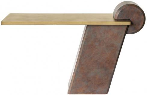Casa Padrino Designer Konsole Messing / Antik Kupfer 137 x 45, 5 x H. 90 cm - Konsolentisch aus Glasfaserverstärktem Beton - Luxus Qualität
