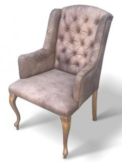 Casa Padrino Chesterfield Echtleder Esszimmer Stuhl mit Armlehnen - ALLE FARBEN - Luxus Wohnzimmer Sessel Möbel Büffelleder