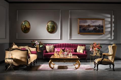 Casa Padrino Luxus Barock Couchtisch Gold 128 x 128 x H. 48 cm - Edler Massivholz Wohnzimmertisch mit Glasplatte und Spiegelglas - Luxus Qualität - Vorschau 3